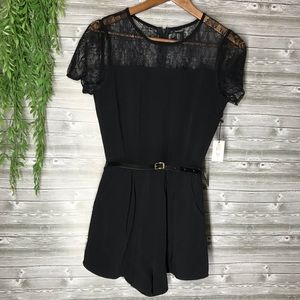 Forever 21 black lace zip up romper with belt sz s